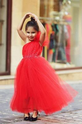 Cute Red One Shoulder Tulle Long Flower Girl Dress  Crystal Floor Length Dresses for Girls_1