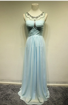 Attractive Crystal Stunning Long Evening Dresses Zipper Tieded Sweep Train  Prom Gowns_3