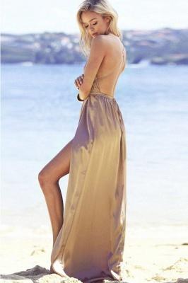 Sexy V-Neck A-line Backless Prom Dresses | Side Slit Evening Dresses_4