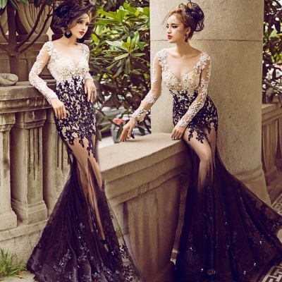 Bateau Long Sleeve Lace Appliques Sexy Prom Dresses  Sheer Tulle Mermaid Evening Gown FB0176_3