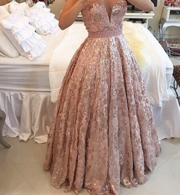 Sheer Tulle Straps Sparkly Lace Prom Dresses Pearls Pink Sweet 16 Quinceanera Dress  BA3677_3