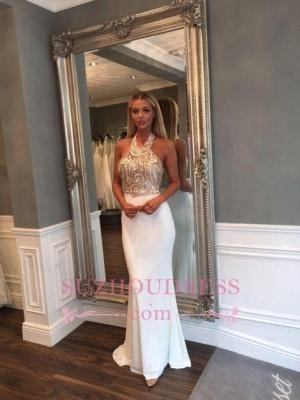 Sleeveless Halter Gold Sequined Prom Dresses Sweep Train Mermaid Long Evening Dress_1