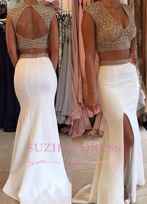 Beaded Sparkly Crystals Two Piece Prom Dress V-neck Long Mermaid Evening Dresses_3