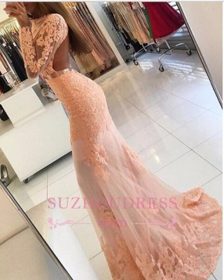 Long Sleeve Coral Lace Formal Dress  Appliques Newest High Neck Mermaid Prom Dress BA6227_1