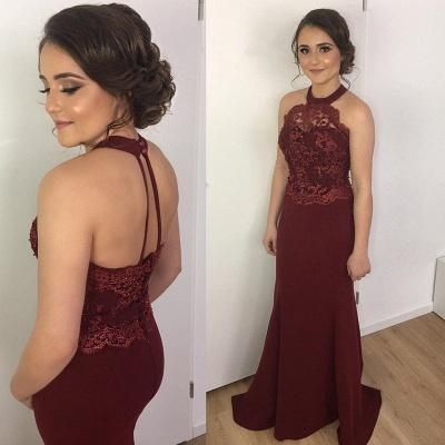 Halter Maroon Formal Dress  Lace Appliques Open Back Evening Dress_3
