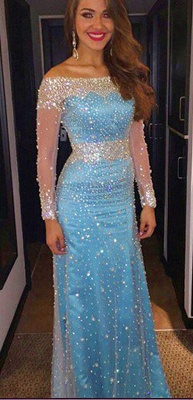 Sheath Bateau Light Blue Prom Dress with Beadings Long Sleeve Crystal Evening Gowns BA7543_3