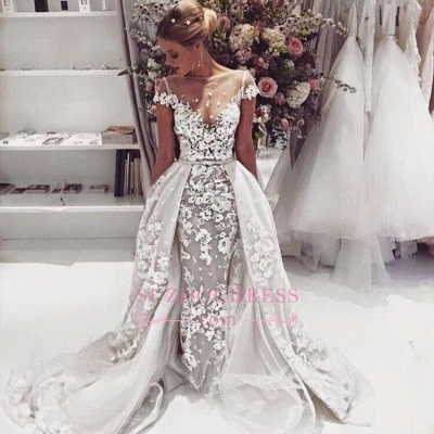 Popular  Overskirt Open Back Bride Dress Sleeves Illusion Lace Appliques Wedding Dress_1