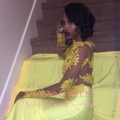 Beautiful High Neck Evening Dress Yellow Long-Sleeve Lace Appliques Mermaid Prom Dress_3