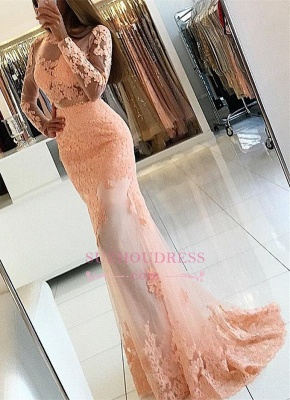 Long Sleeve Coral Lace Formal Dress  Appliques Newest High Neck Mermaid Prom Dress BA6227_2