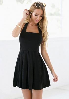 Black Halter Summer Beach Dresses Sleeveless Mini Zipper Homecoming Gowns_4