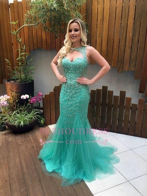 Gorgeous Mermaid Sleeveless Tulle Beads Zipper Prom Dress_3