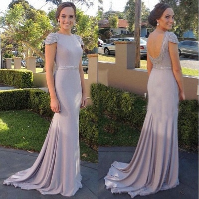 Beading Cap Sleeve   Bridesmaid Dresses New Arrival Open Back Evening Gowns_3