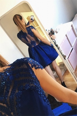 Royal Blue A-line Short Homecoming Dresses  | Long Sleeves Appliques Tiered Hoco Dress_4