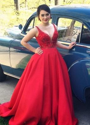 Elegant Red Spaghetti Strap Formal Occasion Dress Latest Sweep Train  Evening Dress_1