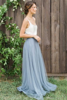 New Arrival Custom Made Country Wedding Bridesmaid Dress  Tulle Long Maid Of Honor Dresses_3