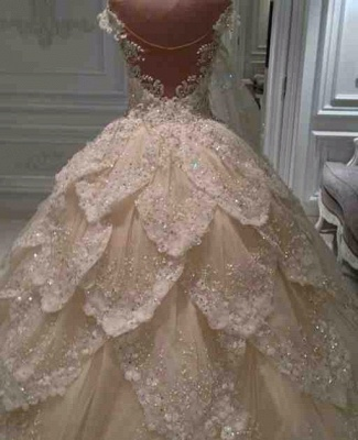 Luxurious Off the Shoulder Beading Wedding Dress Crystal Tiered Chapel Train Bridal Gowns_4