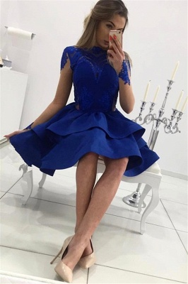 Royal Blue A-line Short Homecoming Dresses  | Long Sleeves Appliques Tiered Hoco Dress_3
