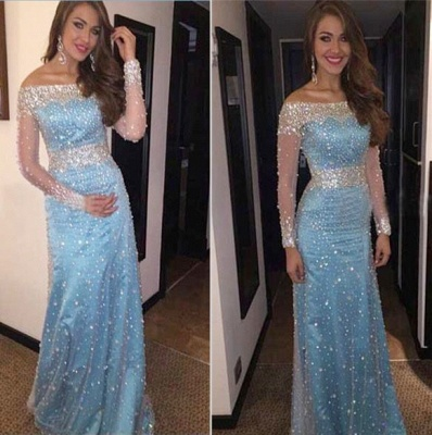 Sheath Bateau Light Blue Prom Dress with Beadings Long Sleeve Crystal Evening Gowns BA7543_4