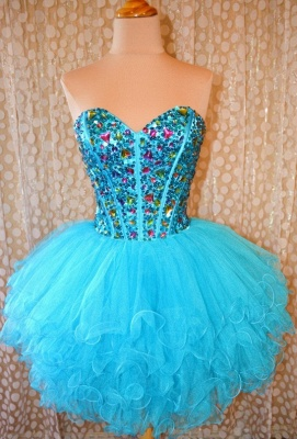 Crytsal Blue Short Organza Homecoming Dress Sweetheart Lace-Up Popular Custom Made Mini Dresses_2