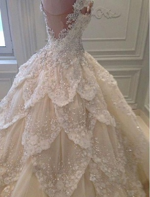 Luxurious Off the Shoulder Beading Wedding Dress Crystal Tiered Chapel Train Bridal Gowns_1