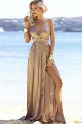 Sexy V-Neck A-line Backless Prom Dresses | Side Slit Evening Dresses_1