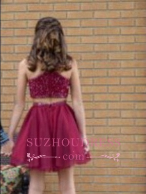 Two-Piece Bead Sleeveless A-line Luxury Red Homecoming Dresses_4