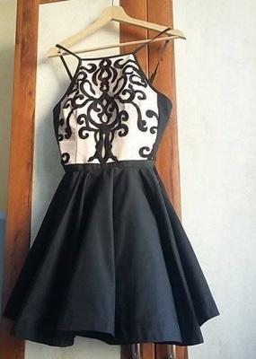 Black Appliques Spaghetti Straps Short Homecoming Dresses   Hoco Dress_3