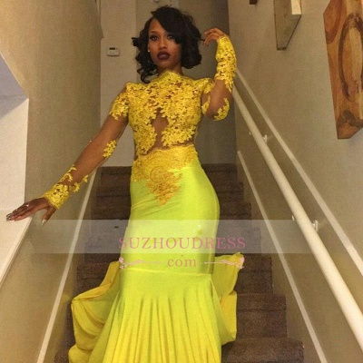 Beautiful High Neck Evening Dress Yellow Long-Sleeve Lace Appliques Mermaid Prom Dress_2