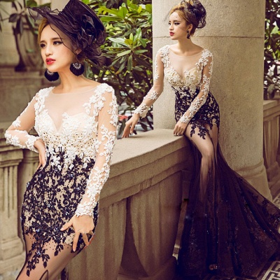 Bateau Long Sleeve Lace Appliques Sexy Prom Dresses  Sheer Tulle Mermaid Evening Gown FB0176_4