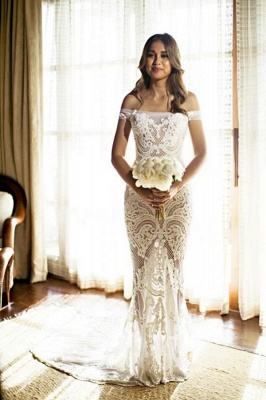 Off The Shouler Sheath Lace Wedding Dresses  | See Through Cheap Bridal Gowns with Court Train_3