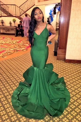 Gorgeous V-Neck Mermaid Evening Gowns Spaghetti Strap  Party Dresses_1