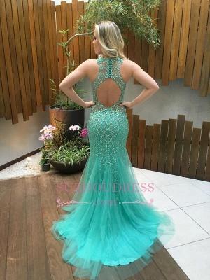 Gorgeous Mermaid Sleeveless Tulle Beads Zipper Prom Dress_1