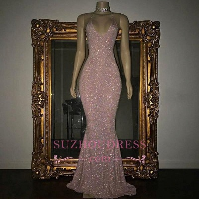 Stunning Rose Pink Sequined Evening Gown Long Spaghetti Strap Mermaid Sleeveless  Prom Dress MQ0050_3