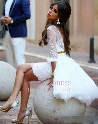 Sheath Mini Elegant Short Appliques Tulle Homecomng Dresses_3