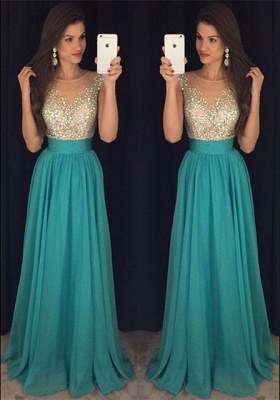 New Arrival Simple Crystal  Prom Dress Scoop Floor Length Sequins Party Dresses_1