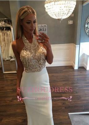 Sleeveless Halter Gold Sequined Prom Dresses Sweep Train Mermaid Long Evening Dress_3