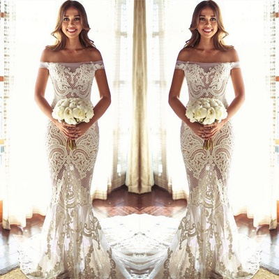 Off The Shouler Sheath Lace Wedding Dresses  | See Through Cheap Bridal Gowns with Court Train_4