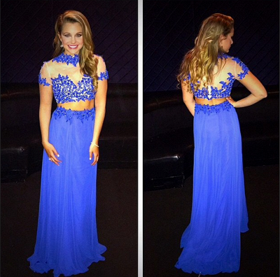 Royal Blue Short Sleeve Chiffon Long Evening Dress Separate High Collar Lace Prom Gown_3