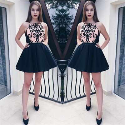 Black Appliques Spaghetti Straps Short Homecoming Dresses   Hoco Dress_4