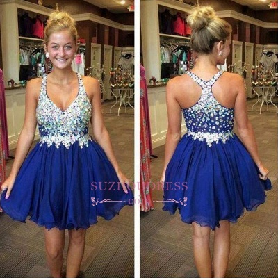 Sparkly Short Royal-Blue Popular Chiffon Sleeveless Rhinestone Homecoming Dresses_1