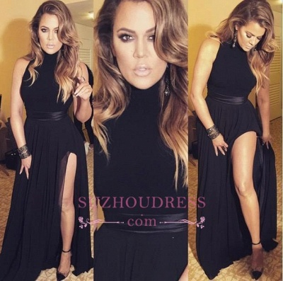 High Neck Latest Black Evening Gowns Sexy Chiffon Long Split Formal Dresses_1