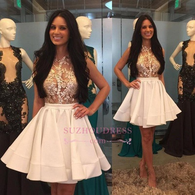 Puffy-Skirt Sheer High-Neck Pretty Appliques Lace Mini Homecoming Dresses_1