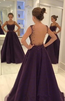 Grape A-line Sleeveless Prom Dresses  Crystal Sheer-Tulle Evening Gowns_3