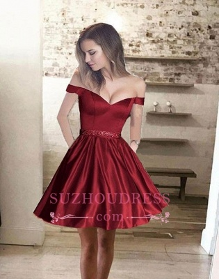 Bead Belt Burgundy Short Homecoming Dress  Glossy Off-the-Shoulder Hoco Dresses_4