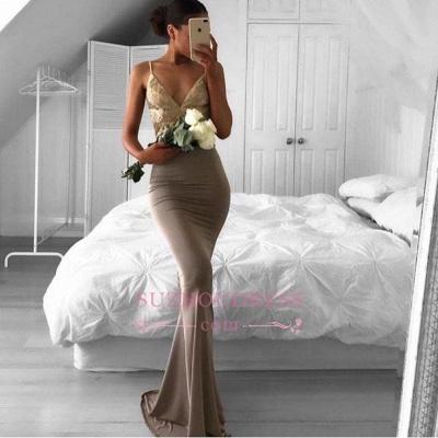 Spaghetti Strap Sexy Formal Evening Dress Sweep Train Sleeveless Mermaid Lace Prom Dress BA6386_3