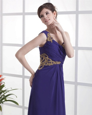 Elegant Prom Dresses  One Shoulder Sleeveless A Line Floor Length Appliques Beading Pleats Backless Evening Gowns_4