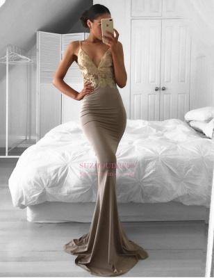 Spaghetti Strap Sexy Formal Evening Dress Sweep Train Sleeveless Mermaid Lace Prom Dress BA6386_4