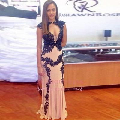 Cap Sleeve Long Mermaid Evening Dress Sexy Sweep-Train  Lace Black Prom Dress_1