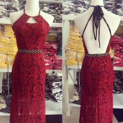 Halter Lace Backless  Evening Gowns Latest Floor Length Party Dresses_4