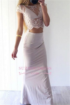 Two Pieces Lace Prom Dress Long Sheath Sexy Cap Sleeves  Evening Gowns_1